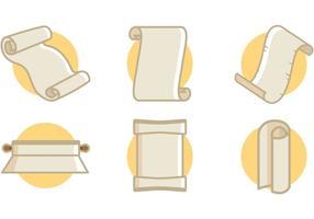 Scrolled Paper Icons Vektor Illustrationen kostenlos
