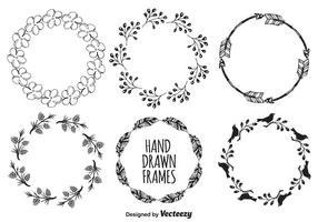 Söt handdragen stilramar vektor