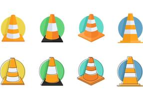 Orange Traffic Cones Vector Ikoner
