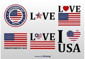 Amerikanska flaggan märken vektor