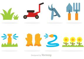 Vektor gräsmatta platt ikoner