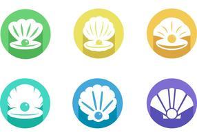 Muscheln mit Perlen Icon Vector Pack