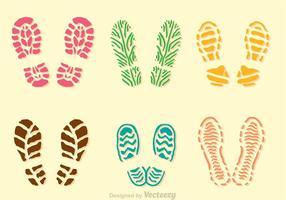 Färgglada Muddy Footprint Ikoner