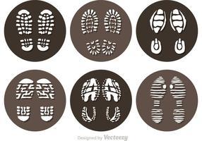Vektor schlammige Fußabdruck Icons