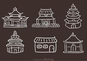 Kinesiska templet Handdragna ikoner vektor
