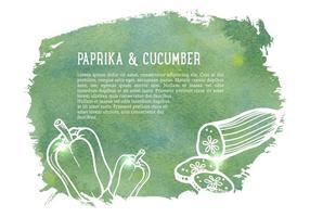 Freie Vektor gezogene Gurke und Paprika