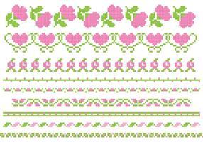Stickerei Rose Vektor Banner