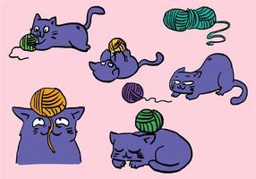Katt med kula av garnuppsättning