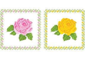 Gestickte Tapisserie Blumen Vektoren