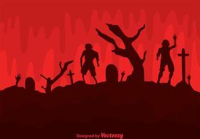 Vektor zombies i kyrkogården