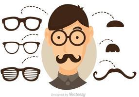 Vector Cool Dude mit Brille und Schnurrbart