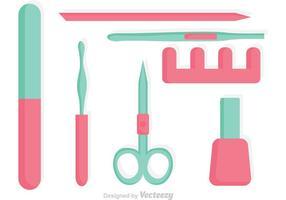 Vector Manicure Pedicure Tillbehör Ikoner