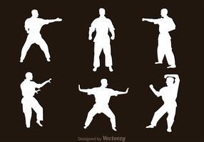 Kampfkunst-Schattenbild-Vektoren vektor