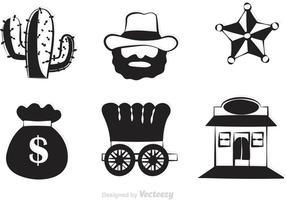 Schwarze Western Vector Icons
