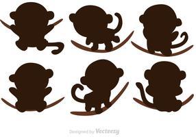 Cartoon Monkey Silhouette Vectors