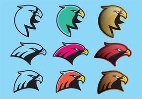 Färgrika Hawk Logo Vektorer