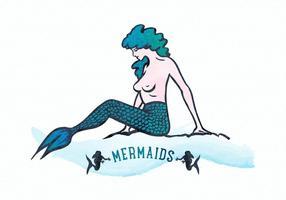 Gratis vattenfärg sjöjungfru vektor illustration