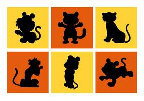 Cartoon Tiger Silhouetten Vektor kostenlos