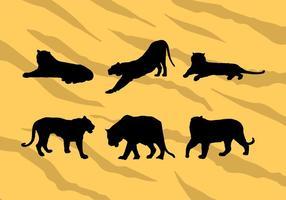 Verschiedene Vektor Tiger Silhouetten kostenloser Download