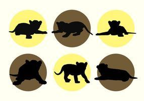 Baby Tiger Vektor Silhouetten