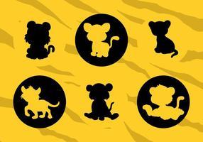Vector Silhouetten von Cartoons Baby Tiger