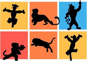 Berühmte Cartoon Tiger Silhouetten