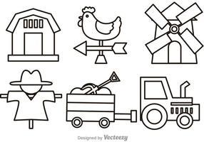 Vektor Farm Outline Ikoner