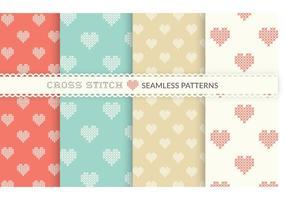 Gratis Cross Stitch Heart Seamless Vector Patterns