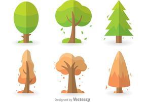 Färgrika träd ikoner Set vektor
