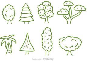 Doodle träd vektor uppsättning