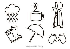 Rainy Outline Ikoner vektor