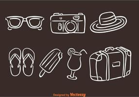Handdragen sommar semester ikoner vektor