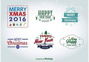 Weihnachten und Neujahr 2016 Etiketten