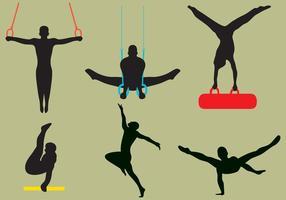 Vector Männliche Gymnast Silhouetten