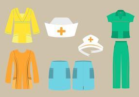 Vektor uppsättning sjuksköterskor scrubs och kepsar i olika mode stilar