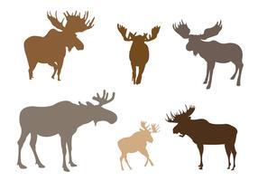 Set of Moose Silhouette In Vector Format