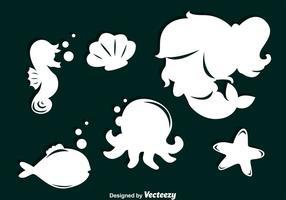 Tecknad sjöjungfrun silhuetter