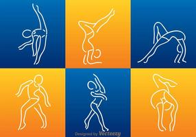 Vit linje gymnastik silhuett