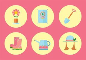 Gartenarbeit Vektor Icon Set