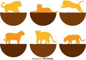 Tiger Silhouette Symbole vektor