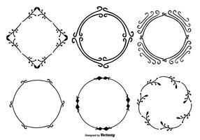 Handdragen dekorativ ramsats vektor