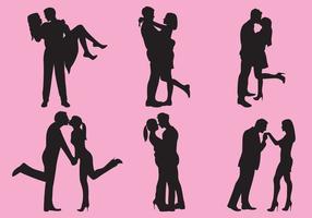 Kvinna och man älskar silhuetter