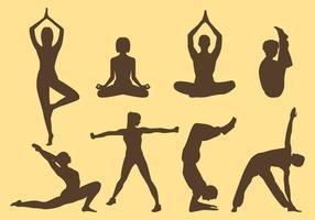 Frau und Mann Yoga Silhouetten vektor