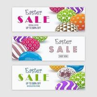 färgglada påsk försäljning banneruppsättning vektor