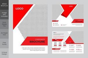 Reinigen Sie die zweifache Broschürenvorlage für das rote und weiße Unternehmensgeschäft vektor