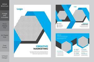tvåfaldig blå och vit hexagon design flygblad mall