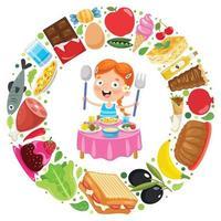 litet barn som äter utsökt mat vektor