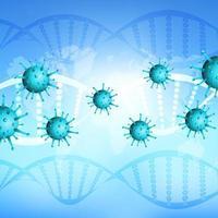 blå medicinsk bakgrund med covid 19 celler med DNA-trådar