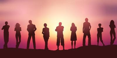 sociala avståndande människor silhuett på solnedgånghimmel vektor