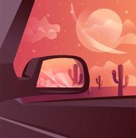 Wüste Sonnenuntergang Landschaft mit Kakteen unter der Dämmerung.